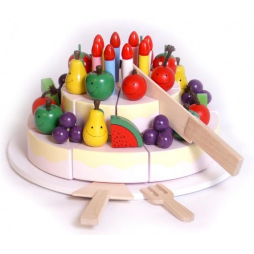 Enjoyable Wooden Happy Birthday Cake Toy With Platter Knife Fork And Cake Funny Birthday Cards Online Aeocydamsfinfo