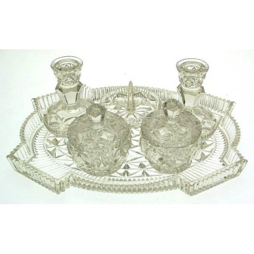 Vintage 6 piece pressed glass dressing table set including candle ...