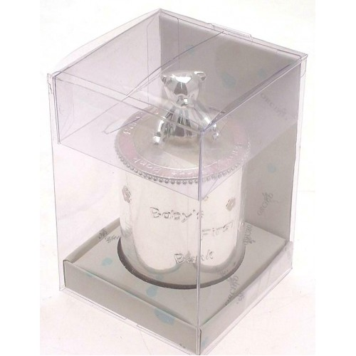 Silver Plated Christening Gift Babys First Bank