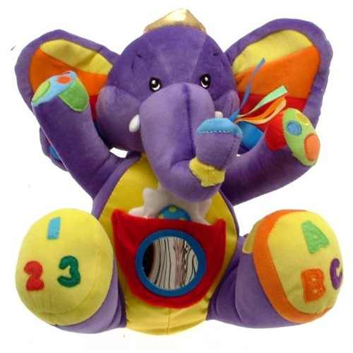 Purple Elephant Soft Toy And Baby Rattle Sensory And Learning Toy