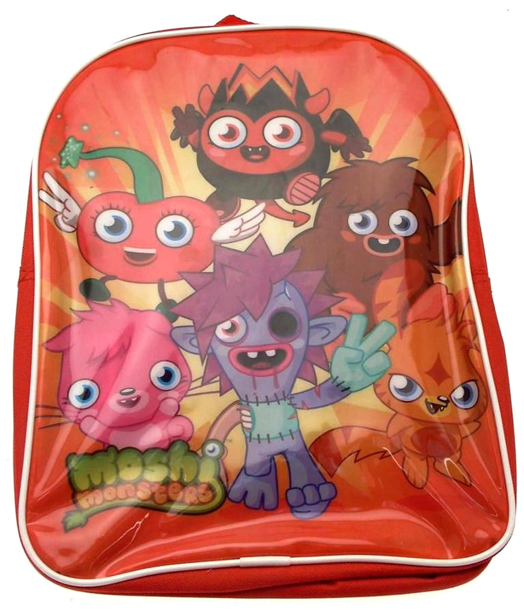 Moshi monsters backpack in red with diavolo katsuma zomer poppet luvli and furi design moshi monsters collectables moshlings and mash up trading cards